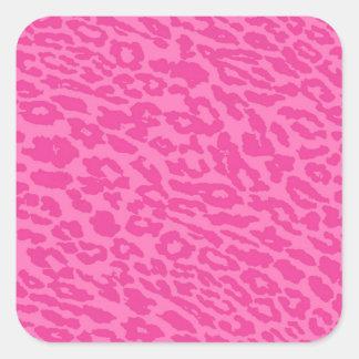 pink leopard square sticker