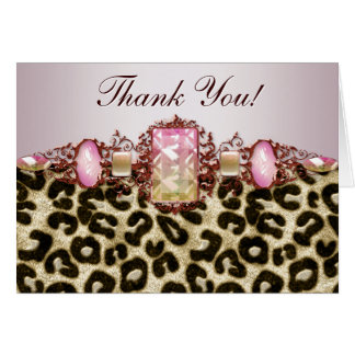 Pink Leopard Thank You Cards Greeting Card