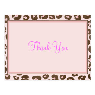 Pink Leopard Thank You Post Card