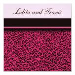 """Pink Leopard Wedding Invitation 5.25"""" Square Invitation Card"""