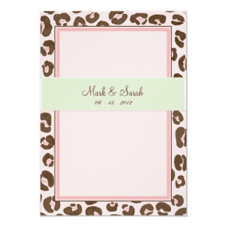 "Pink Leopard Wedding Invitation 5"" X 7"" Invitation Card"
