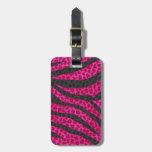 Pink Leopard Zebra Stripes Bag Tag