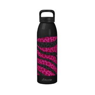 Pink Leopard Zebra Stripes Drinking Bottle