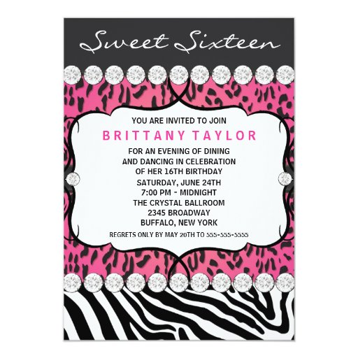 Pink Leopard Zebra Sweet 16 Party 5x7 Paper Invitation Card