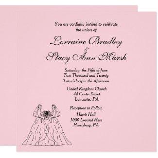 Pink Lesbian Wedding Invitation