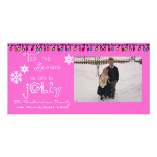 Pink Let's Be Jolly Christmas Holiday Photo Card