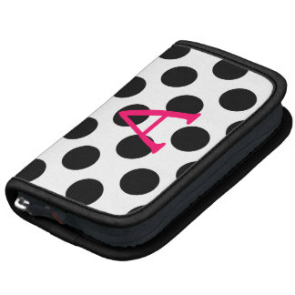 Pink Letter A on Black Polka Dots Folio Planner