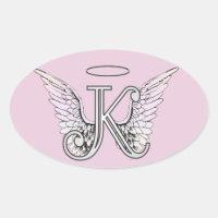 Pink Letter K Angel Wings Monogram Oval Sticker