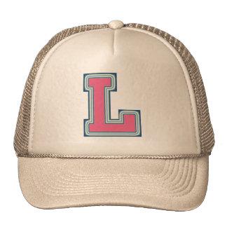 Pink Letter 'L' Monogram Trucker Hat