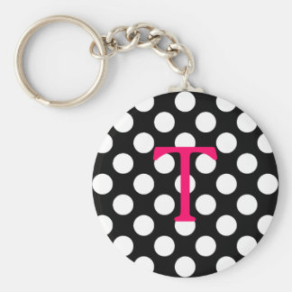 Pink Letter T with Polka Dots Basic Round Button Keychain