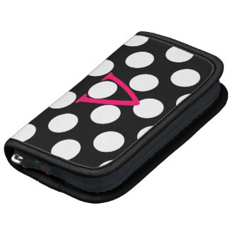 Pink Letter V on Polka Dots Folio Planners