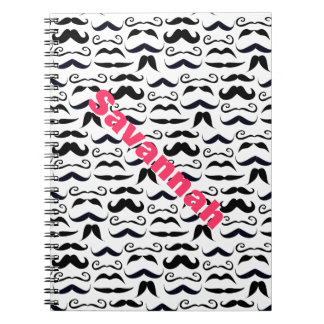 Pink Lettered Name Mustache Hipster Pattern Notebook