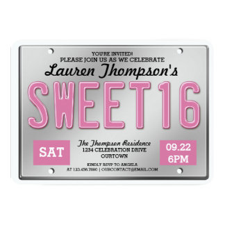 Pink License Plate Sweet 16 Party Invitations