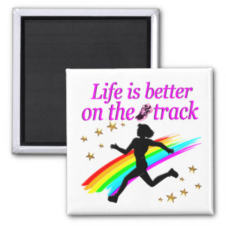 PINK LIFE IS BETTER ON THE TRACK DESIGN MAGNET