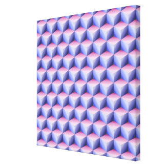 Pink & Light Blue Shaded 3D Look Cubes Canvas Print