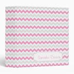 Pink Light Gray Chevron Pattern Personalized Album 3 Ring Binder