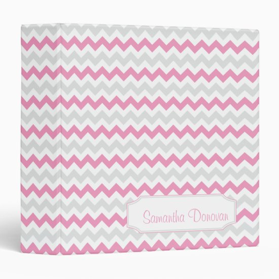 Pink Light Gray Chevron Pattern Personalized Album Binder