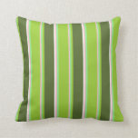 [ Thumbnail: Pink, Light Green, Green, Dark Olive Green & White Throw Pillow ]