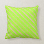 [ Thumbnail: Pink & Light Green Lined Pattern Throw Pillow ]