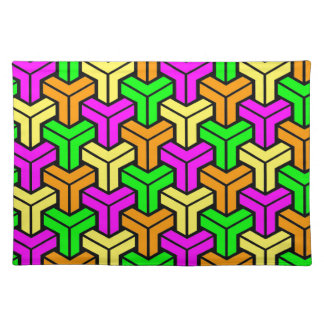 Pink, Light Green, Yellow Orange Geometric Pattern Placemat