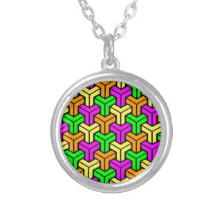 Pink, Light Green, Yellow Orange Geometric Pattern Silver Plated Necklace