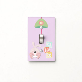 Pink Light Switch Cover with Bunny and ABC Blocks