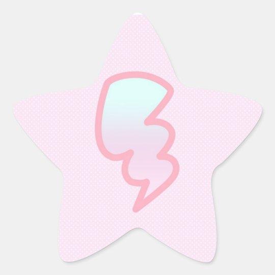 Pink Lightning Bolt Star Stickers