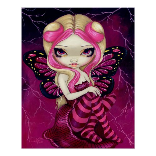 Pink Lightning fantasy fairy Art Print print