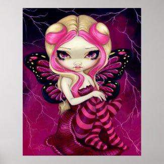 Pink Lightning fantasy fairy Art Print