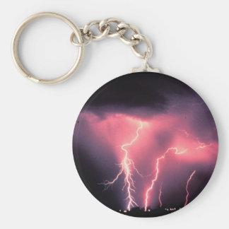 Pink lightning basic round button keychain