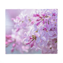 Pink lilac flowers fleece blanket