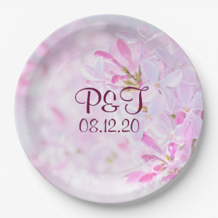 Lilac wedding plates zazzle pink lilac flowers paper plate mightylinksfo