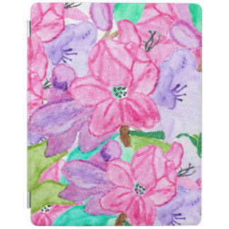Pink lilac original watercolor hand drawn flowers iPad smart cover
