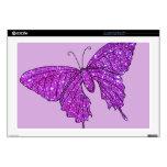 "Pink Lilac Sparkle Glitter Butterfly Girly Stuff 17"" Laptop Skins"