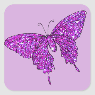Pink Lilac Sparkle Glitter Butterfly Girly Stuff Square Sticker