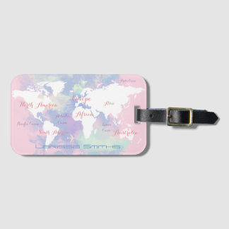 pink lilac watercolor world map travel luggage tag