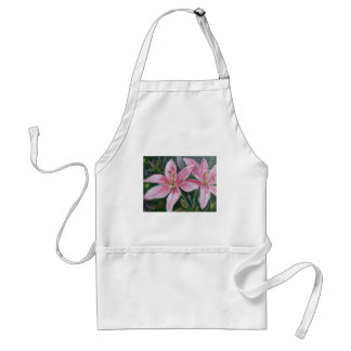 Pink lilies adult apron