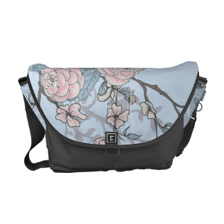 Pink Lilies and Roses on Blue Bag