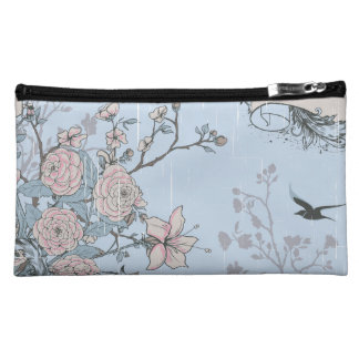 Pink Lilies and Roses on Blue Sueded Cosmetic Bag