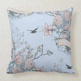 Pink Lilies and Roses on Blue Throw Pillow