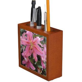 Pink Lilies Desk Organiser