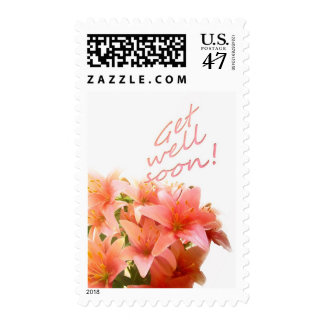 Pink Lilies Floral Get Well Soon Stamp