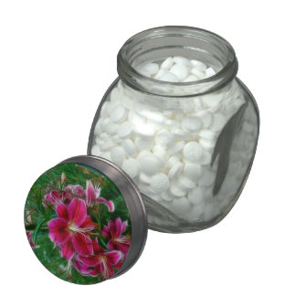 Pink Lilies Impressionist Floral Painting Art Jelly Belly Candy Jars