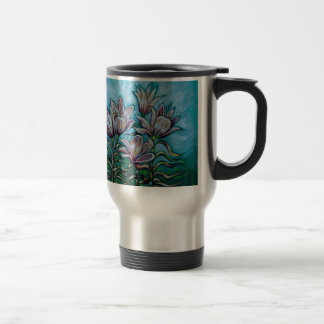 Pink Lilies in Sunny Sky 15 Oz Stainless Steel Travel Mug