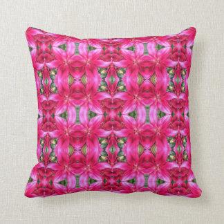 Pink Lilies Mosaic Throw Pillow