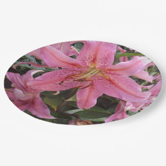 Pink Lilies Paper Plates
