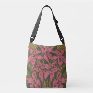 Pink Lilies, pastel painting, flowers, floral art Crossbody Bag
