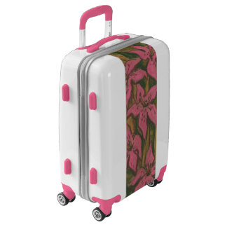 Pink Lilies, pastel painting, flowers, floral art Luggage
