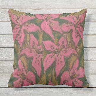 Pink Lilies, pastel painting, flowers, floral art