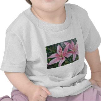 Pink lilies tshirts